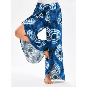 Bohemian Tie Dye Plus Size  High Slit Wide Leg Pants - Purplish Blue - 5xl