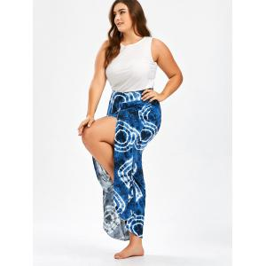 Bohemian Tie Dye Plus Size  High Slit Wide Leg Pants -