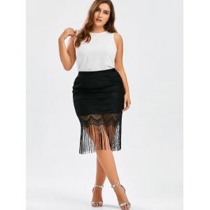 Plus Size Fringe Lace Skirt - BLACK 2XL