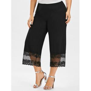 Plus Size Lace Trim Wide Leg Pants - Black - 3xl