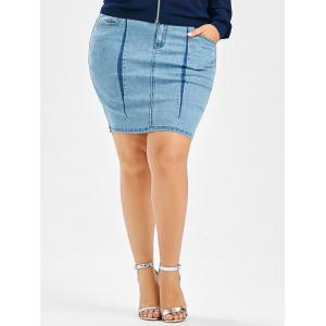 Plus Size Denim Mini Bodycon Skirt