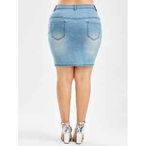 Plus Size Denim Mini Bodycon Skirt - LIGHT BLUE 4XL