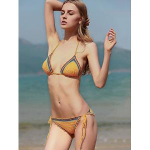 Lace Up Spaghetti Strap Crocheted Bathing Suit - YELLOW S