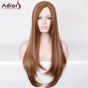 Adiors Side Part Hightlight Ultra Long Straight Synthetic Wig - COLORMIX