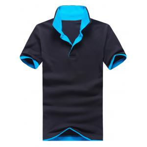 Polo Collar Color Block Panel Short Sleeve T-Shirt - Blue And Black - 3xl