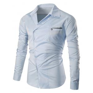 Oblique Buttons Embroidered Pocket Shirt