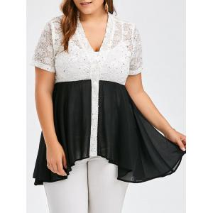 Plus Size Color Block Lace Panel Swing Top - Black - Xl