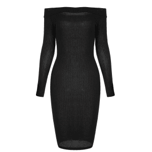 Off Shoulder Long Sleeve Bodycon Formal Dress - BLACK XL
