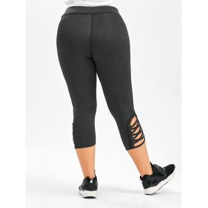 Plus Size Side Criss Cross Capri Leggings - DEEP GRAY 3XL