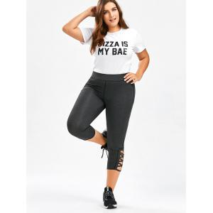 Plus Size Side Criss Cross Capri Leggings - DEEP GRAY 4XL