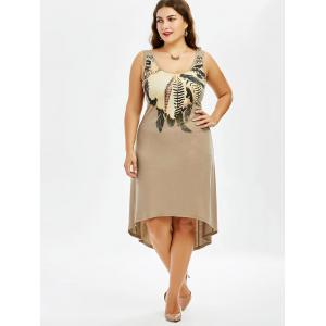 Plus Size High Low Hem Sleeveless Dress with Feather Print -