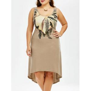 Plus Size High Low Hem Sleeveless Dress with Feather Print - Khaki - 4xl
