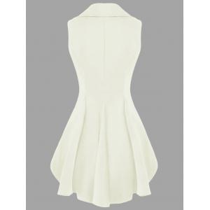 Double Breast High Low Lapel Dressy Waistcoat - OFF-WHITE XL
