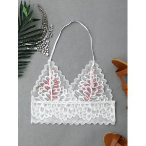 Flower Embroidery Scalloped Halter Lace Crop Top - WHITE S