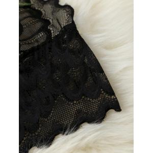 Flower Embroidery Scalloped Halter Lace Crop Top - BLACK S