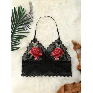 Flower Embroidery Scalloped Halter Lace Crop Top - Black - S