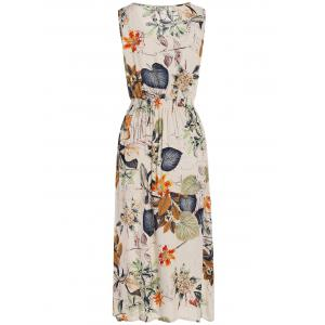 Plants Print Elastic High Waist Midi Dress -