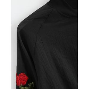 Floral Embroidered Zip Up Jacket - BLACK ONE SIZE