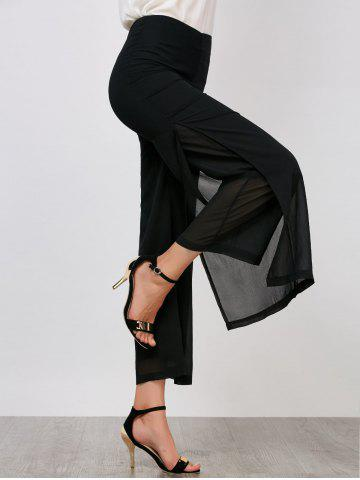 Chiffon Flowy Slit Wide Leg Palazzo Pants - Black - 2xl