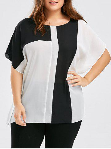 Plus Size Colorblock Chiffon Side Slit Top