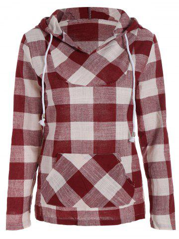 Buy Plaid Kangaroo Pocket Hoodie - Red L