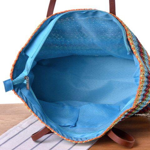 Shops Woven Color Blocking Beach Bag - BROWN  Mobile
