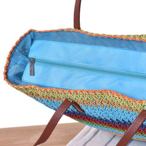 Fancy Woven Color Blocking Beach Bag - BROWN  Mobile