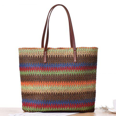 Best Woven Color Blocking Beach Bag BROWN