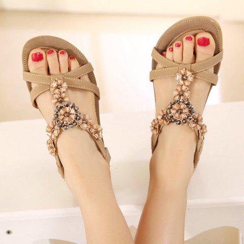 Outfit Rhinestone Flower Flat Sandals - 39 APRICOT Mobile