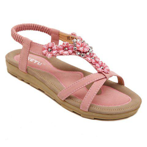 Chic Rhinestone Flower Flat Sandals PAPAYA 40