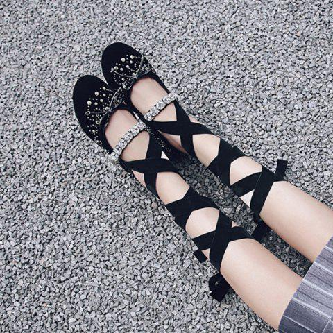 Shop Rhinestones Velvet Lace Up Flat Shoes - 37 BLACK Mobile