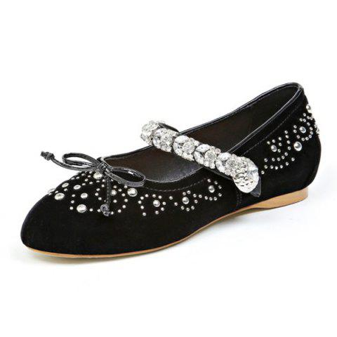 Store Rhinestones Velvet Lace Up Flat Shoes - 37 BLACK Mobile