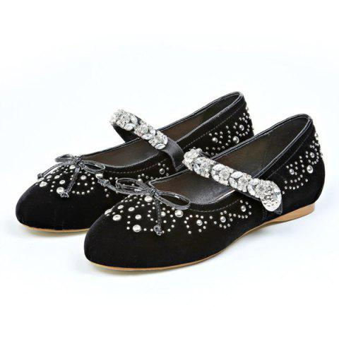 Affordable Rhinestones Velvet Lace Up Flat Shoes - 37 BLACK Mobile