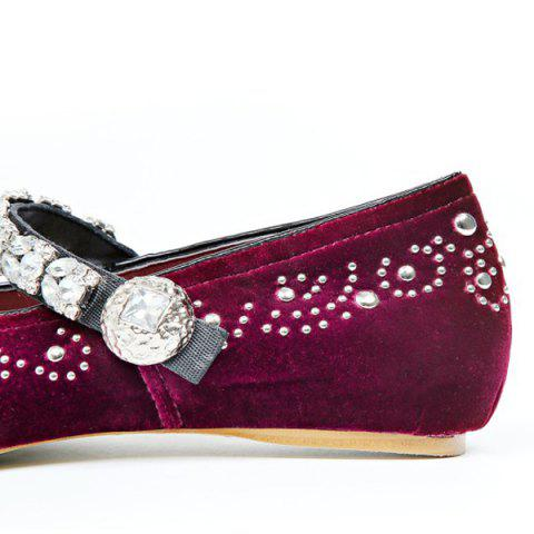 Discount Rhinestones Velvet Lace Up Flat Shoes - 39 WINE RED Mobile