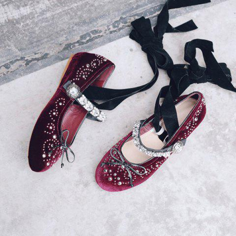 New Rhinestones Velvet Lace Up Flat Shoes - 39 WINE RED Mobile