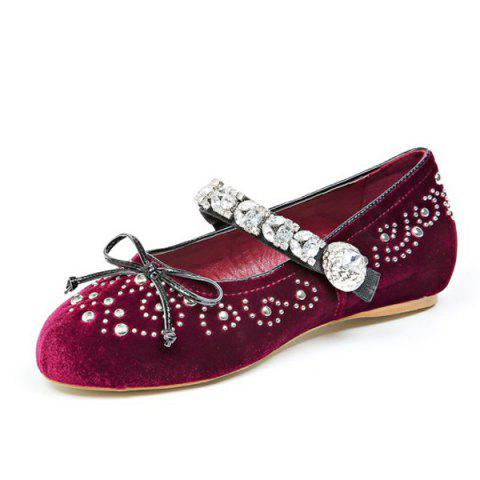 Sale Rhinestones Velvet Lace Up Flat Shoes - 39 WINE RED Mobile