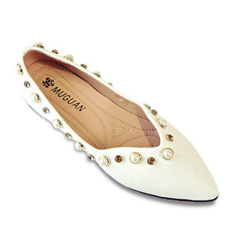 New Rhinestones Faux Pearls Flat Shoes - 37 WHITE Mobile