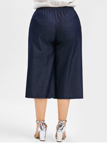 Unique Plus Size Drawstring Wide Leg Crop Pants - 2XL DEEP BLUE Mobile
