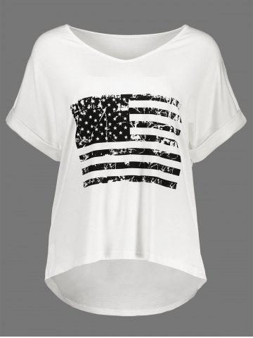 High Low Patriotic Distressed American Flag T-shirt - White - 2xl