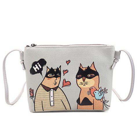 Latest Funny Cat Print Crossbody Bag - GREY WHITE  Mobile
