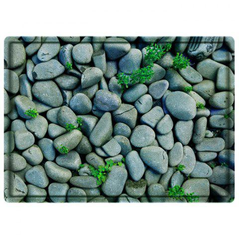 Stone Print Water Absorbing Bathroom Floor Mat - Green - W79 Inch * L59 Inch