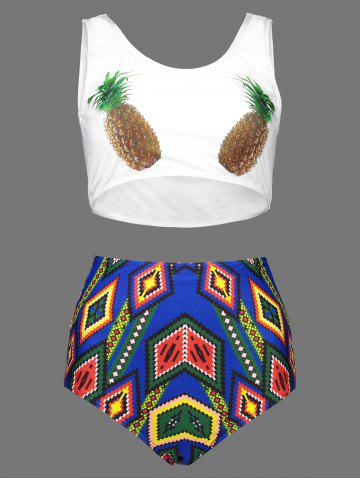 Outfit Pineapple Print Plus Size Cute High Waisted Bottom Bikini