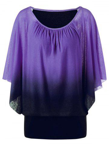 Outfits Ombre Butterfly Sleeve Plus Size T-Shirt PURPLE XL