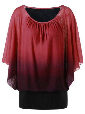 Chic Ombre Butterfly Sleeve Plus Size T-Shirt CLARET XL