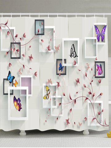 Butterfly Flower Photo Frame Shower Curtain - White - W71 Inch * L71 Inch
