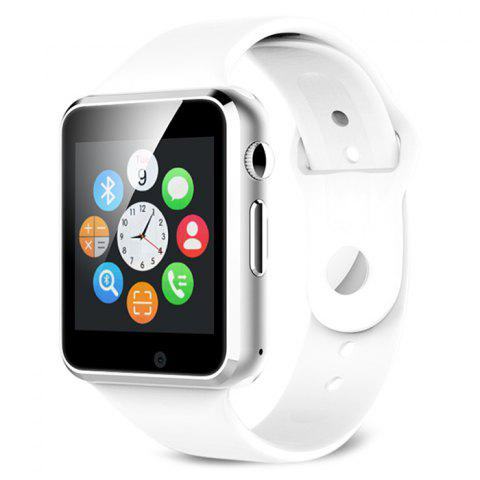 A1 Bluetooth Smart Watch Phone with Sleep Monitor Pedometer Camera Single SIM - White