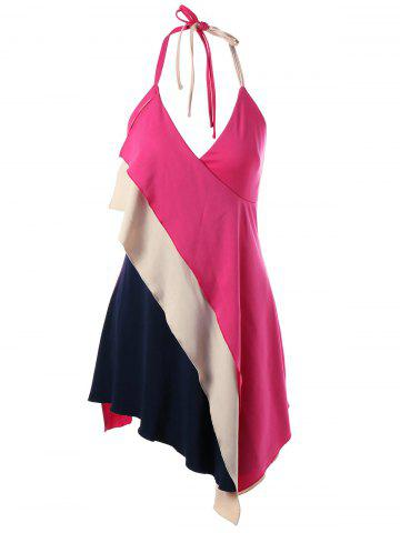 Color Block Asymmetrical Halter Tank Top - Tutti Frutti - 2xl