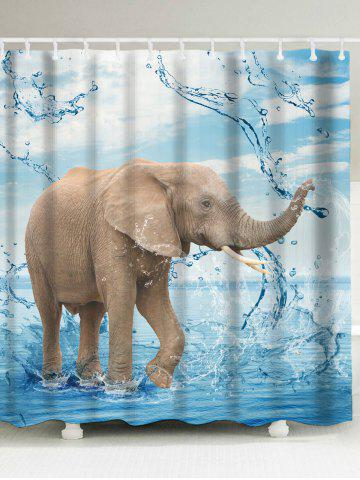 Elephant Playing Water Mouldproof Shower Curtain - Ice Blue - W71 Inch * L79 Inch