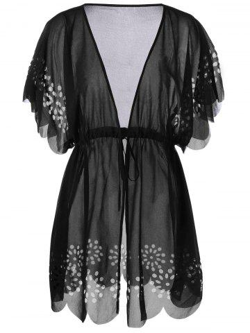 Trendy Tie Front Scalloped Plus Size Cover-Ups BLACK 2XL