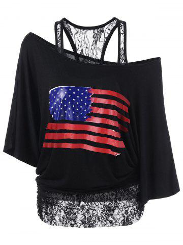 Chic Lace Insert Skew Neck American Flag T-Shirt BLACK M